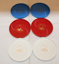 Walt Disney World Set of 6 Plastic Coasters Red Blue White Ritepoint Vin... - $17.08