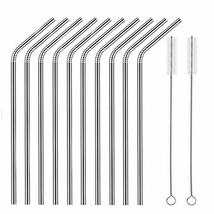 Set of 10 Stainless Steel Straws, HuaQi Bent Reusable (10.5 Inch 10pcs B... - $10.45