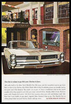 Primary image for NYWF Pontiac Bonneville 1964 Print Ad New York World's Fair
