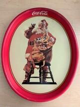 """Vintage 1987 Coca Cola Santa Tin Serving Tray - 15"""" x 12"""" Oval - $9.90"""