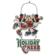 Disney Parks Santa Mickey Minnie Holiday Cheer Metal Holiday Sign New with Tags - $29.69
