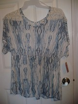 Faded Glory Women's Plus Cinch Waist Top Tusk Print Size 16W 1X NEW - $14.84