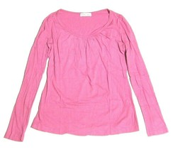 Rebecca Beeson Long Sleeve Shirt Pleated Scoop Neck Magenta Pink sz M - $17.80