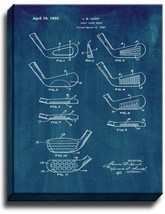 Golf Club Head Patent Print Midnight Blue on Canvas - $39.95+
