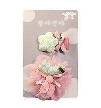 Set of 2 Lovely Baby Girls Hair Clips Barrettes Hair Pins, PINK