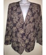 Alfred Dunner Blue Beige Floral Blazer Coat Size 12 - $28.04