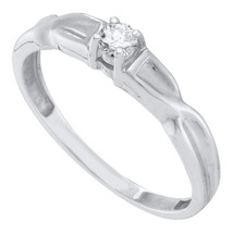 10kt White Gold Womens Round Diamond Solitaire Promise Bridal Ring 1/8 Cttw - £178.38 GBP