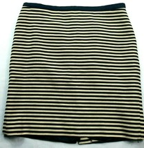 Loft Womens A Line Skirt Size 12 Beige Blue Striped Line Back Zip - $14.85