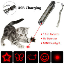 Multi-pattern USB Charging Red Laser Pointer Pen W/ Strap Hook LED Light... - $33.99