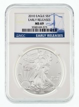 2010 Silver American Eagle Graded by NGC as MS-69 Early Releases - $44.40