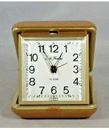 "Seth Thomas Travel Clock Alarm Folding-Tan Outside Working 2.75"" Square ... - $8.91"