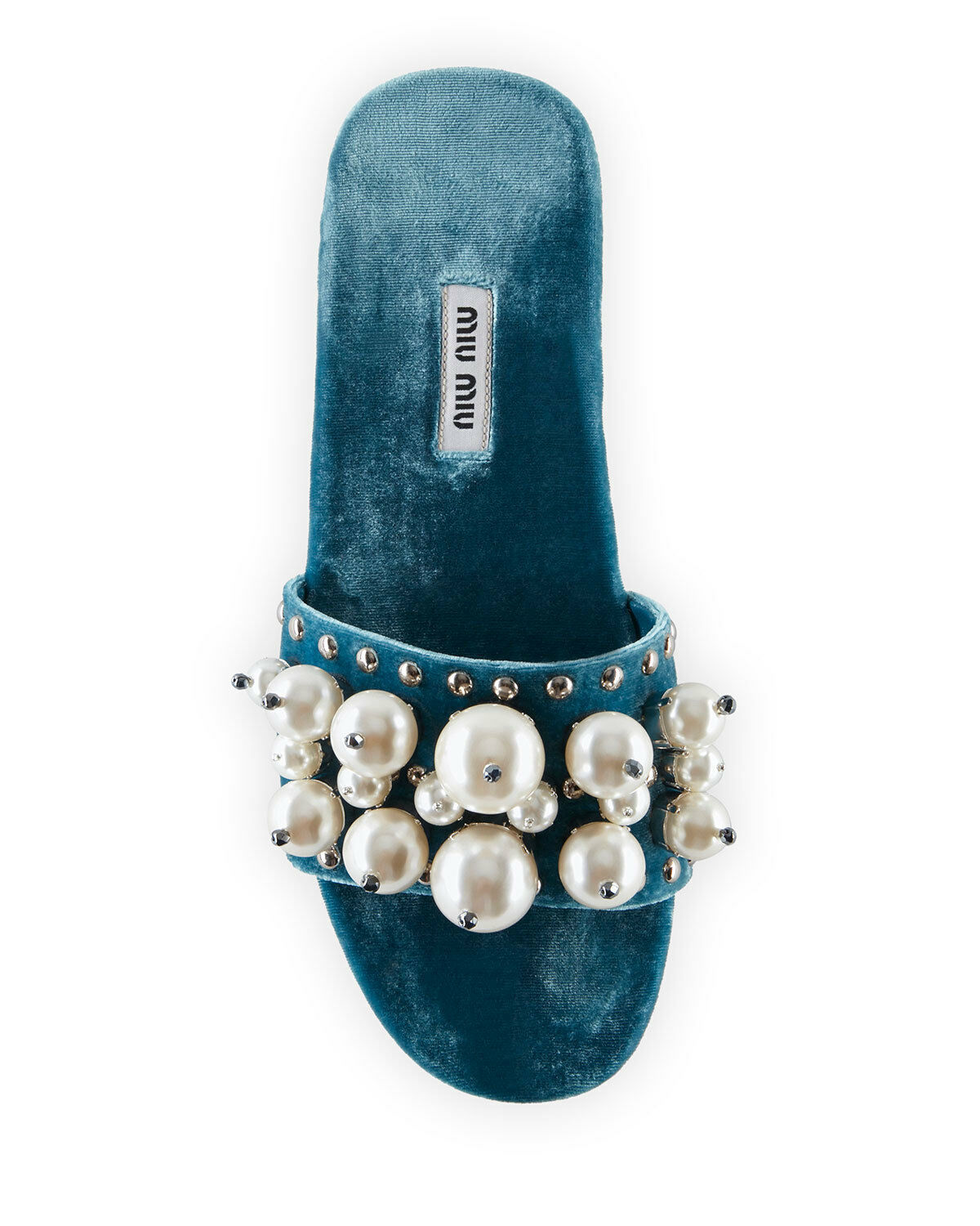 Miu Miu Pearly Velvet Slide Sandals Size 39.5 MSRP: $775.00