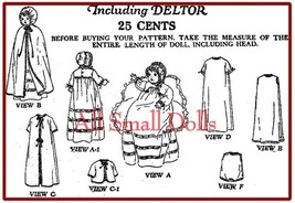 "Vintage Doll Clothing Pattern for 10"" Baby Dolls - $10.99"