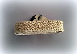 Ladies Beige Woven Belt Silver Plate Slim Size 48  - $5.00