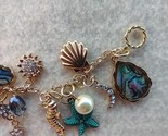 Beach Bum Bracelet Sea Shell Lover Gold Charms Beads Coastal Ocean   - £29.28 GBP