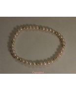 Petite Natural Pink Pearl &14kt Yellow Gold Bea... - $44.00