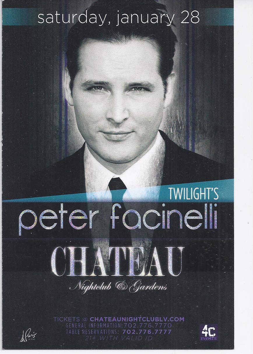 PETER FACINELLI  @ CHATEAU Nightclub Las Vegas Promo Card - $1.95