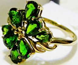 10K YELLOW GOLD GREEN CHROME DIOPSIDE PEAR COCKTAIL RING, SIZE 7, 3.04(T... - $145.00
