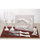 Classic Calla Lily Themed Wedding Accessory Flutes Serving Set Guest Boo... - $59.38