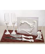 Calla Lily Themed Wedding Accessory Set Flutes Serving Set Guest Book Pe... - $59.38