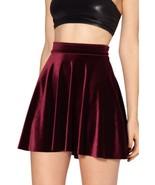 high waist Velvet pleated skirts fashion For women Velvet Black Skater S... - $10.69