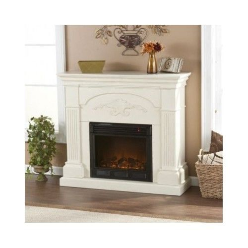 New Electric Fireplace Cozy Home Family Room Den Bedroom Stand Alone Ivory Fireplaces