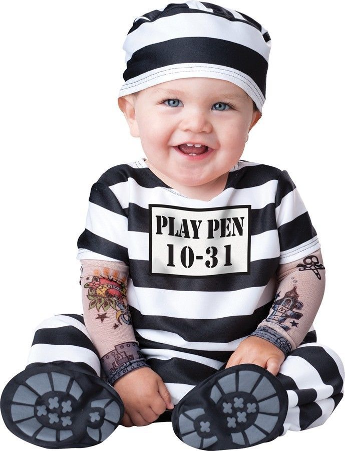TIME OUT INFANT TODDLER COSTUME Prisoner Jail Theme Adorable Halloween FAST SHIP