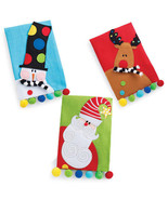 Christmas Towel - Santa, Snowman or Reindeer Pattern Colorful Linen Guest Towel
