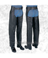 Black Solid Leather Motorcycle Chaps Black Lined Biker Size Large Waist ... - $49.99