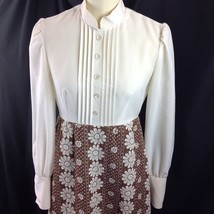 Vtg Groovy Quilted Skirt Hostess Maxi Dress Daisy Dots Long Sleeve Browns M - $49.01