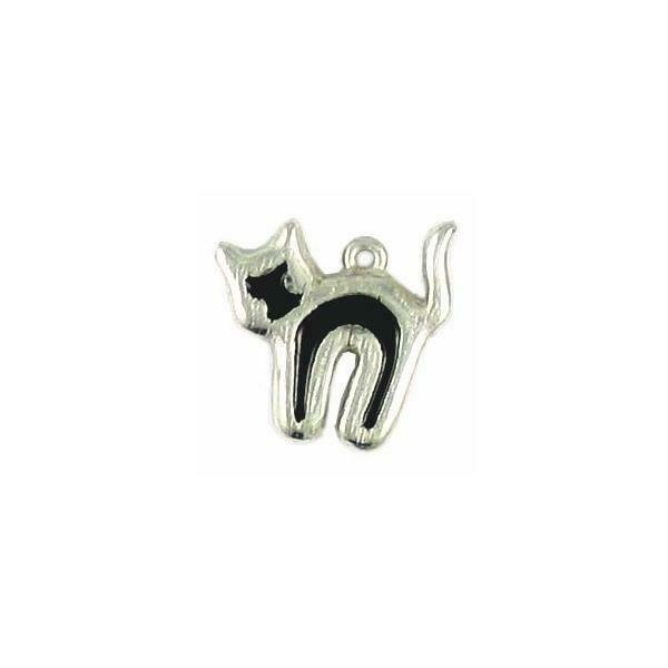 Black Cats Epoxy Enameled Fine Pewter Charm 2mm x 18mm x 19mm
