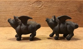Set of Two Small Flying Pig Cast Iron Metal Figurines Statues Rustic 018... - $21.25