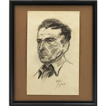 Man With Open Collar; A Framed Portrait in Char... - $160.00