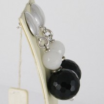 EARRINGS SILVER 925 RHODIUM HANGING WITH ONYX BLACK AND QUARTZ GRAY image 2