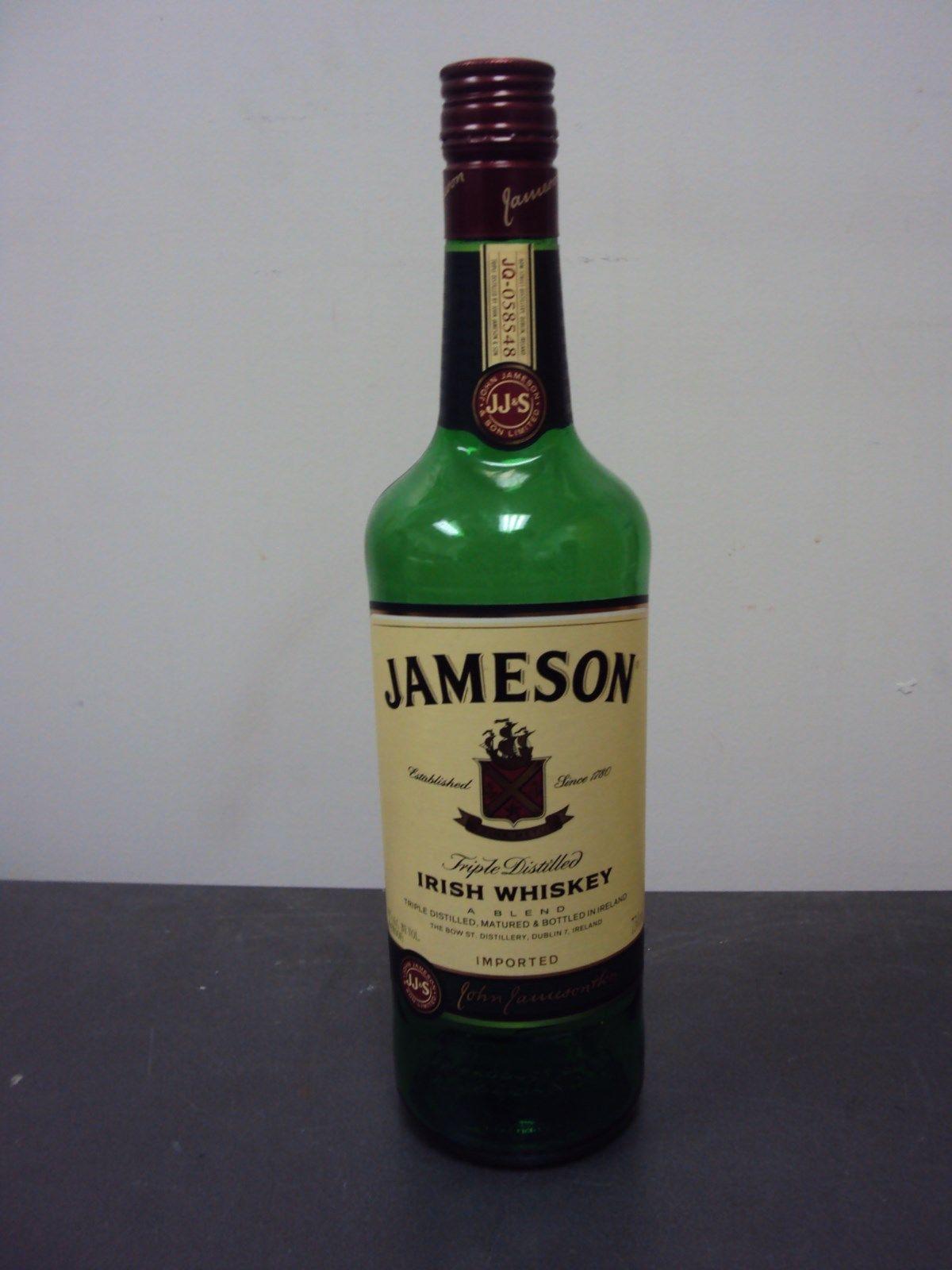 Empty 750ml Jameson Triple Distilled Irish Whiskey Bottle ...