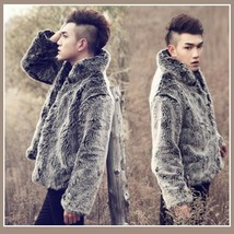 Men's Luxury Style Silver Gray Mandarin Collar Faux Fur Coat Jacket Buttons Up image 2