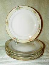 "6 NORITAKE PLATES 8 1/2"" SEDAN PATTERN WHITE WITH CREAM RIMS FLORAL VGC - $12.86"