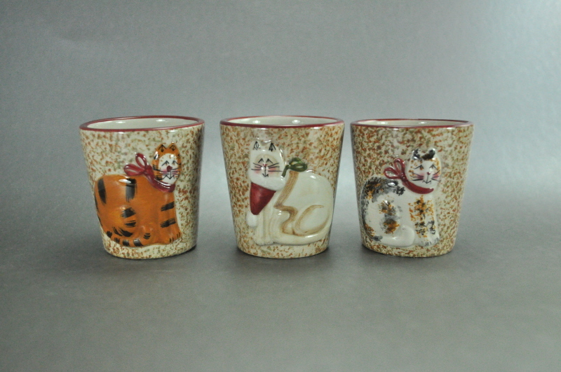 Sakura Fiddlestix Christmas Cats Set of 3 Mini Pots Cups
