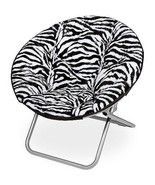 Zebra Style Stripes Fur Lounger Saucer Folding Gaming Chair Dorm Round B... - $53.45