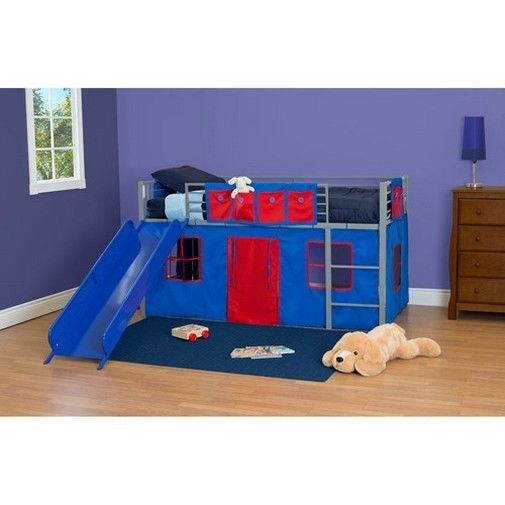 Boys Bunk Bed Slide Twin Loft Child Children Room Ladder