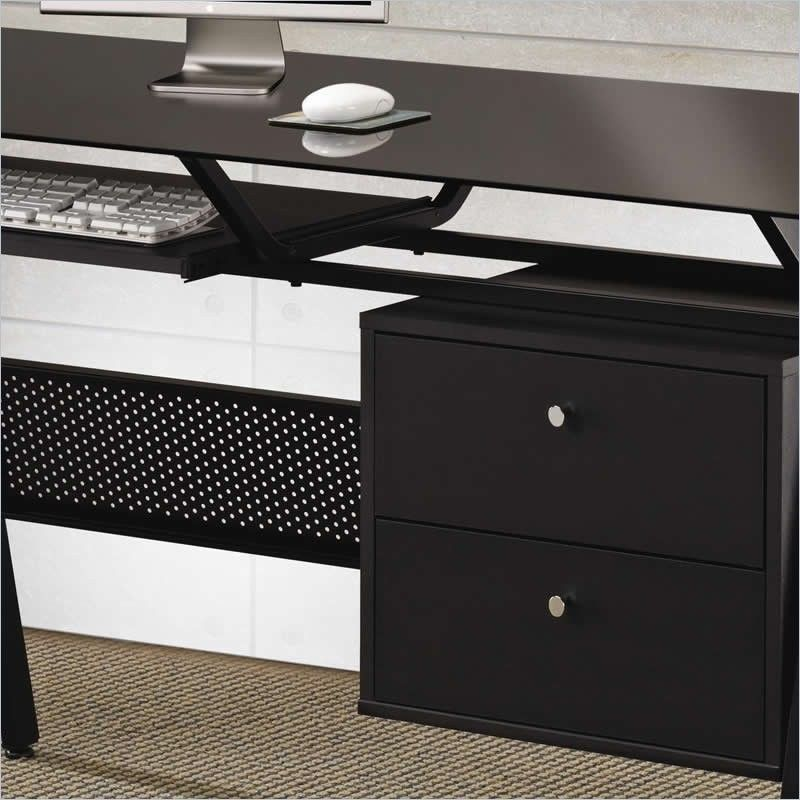 Glass computer desk black metal w two storage drawers home for Decorative office storage