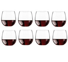 Red Wine Glasses Stemless 8 set Reception Dinner Bar Bottle Champagne Di... - $29.20