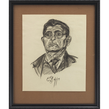 Man With Glasses: A Framed Charcoal On Paper Portrait - $160.00