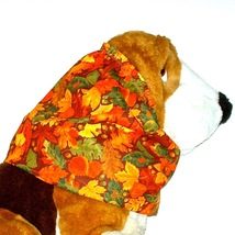 Dog Snood - Autumn Orange Yellow Green Brown Leaves Acorns Cotton - Size XL - $15.00