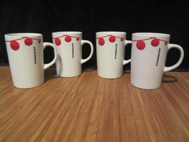 4 Starbucks Coffee Tea cup 2012 Holiday Seasonal White with Red Balls Mu... - $34.99
