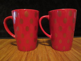 2 Starbucks Coffee Tea Cup 2005 14 OZ Red with Red Oval Polka Dots Holiday Mug - $29.99