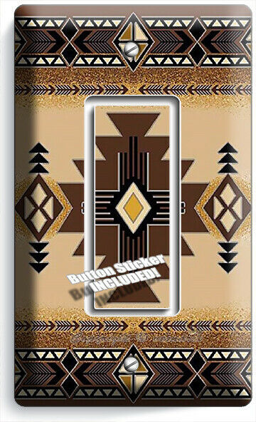 BROWN LATIN SOUTHWEST BLANKET PATTERN 1 GFCI LIGHT SWITCH WALL PLATES ROOM DECOR