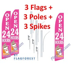 3 (three) DUNKIN DONUTS OPEN 24 HOURS 15' SWOOPER #3 FEATHER FLAGS KIT - $222.74