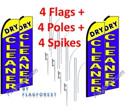 4 (four) DRY CLEANER blue 15' SWOOPER #1 FEATHER FLAGS KIT with poles+sp... - $253.44