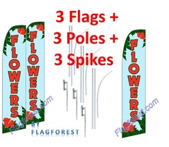 3 (three) FLOWERS lbl/red 15' SWOOPER #1 FEATHER FLAGS KIT with poles+sp... - $222.74